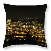Portland Night Skyline Along Willamette River Panorama Throw Pillow