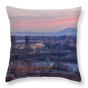 Portland Oregon And Mt St Helens During Sunrise Throw Pillow
