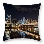 Portland Oregon At Night Throw Pillow