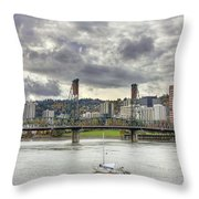 Portland Oregon Downtown Along Willamette River Throw Pillow