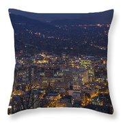 Portland Oregon Downtown Cityscape At Blue Hour Throw Pillow
