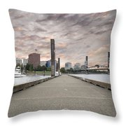Portland Oregon Downtown Skyline By The Marina At Sunset Throw Pillow