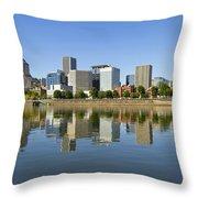 Portland Oregon Downtown Skyline Reflection 3 Throw Pillow