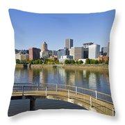 Portland Oregon Downtown Skyline Reflection 4 Throw Pillow