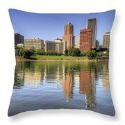 Portland Oregon Downtown Skyline Reflection Throw Pillow