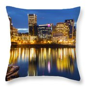 Portland Oregon Downtown Waterfront At Blue Hour Throw Pillow