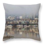 Portland Oregon Foggy Morning Throw Pillow