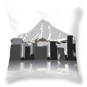 Portland Oregon Skyline 2 Throw Pillow by Daniel Hagerman