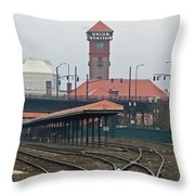 Portland Oregon Union Station Train Station Throw Pillow