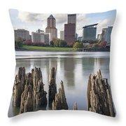 Portland Oregon Waterfront Throw Pillow