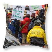 Portland Police Controlling Occupy Portland Crowd Of Protesters Throw Pillow