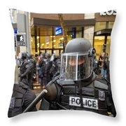 Portland Police In Riot Gear Closeup Throw Pillow