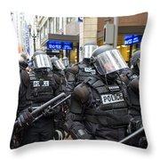 Portland Police In Riot Gear Throw Pillow