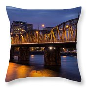 Portland Skyline And Hawthorne Bridge Throw Pillow