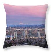 Portland South Waterfront At Sunset Panorama Throw Pillow