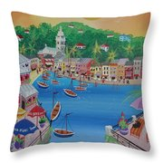 Portofino, Italy, 2012 Acrylic On Canvas Throw Pillow