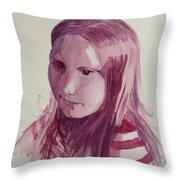 Portrait In Burgundy  Throw Pillow