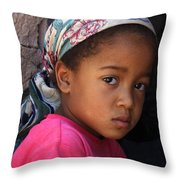 Portrait Of A Berber Girl Throw Pillow by Ralph A  Ledergerber-Photography