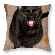 Portrait Of A Black Shorthair Cat With Open Mouth Throw Pillow