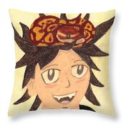 Portrait Of A Boy With A Ball Python On His Head Throw Pillow