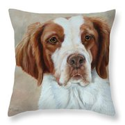 Portrait Of A Brittany Spaniel Throw Pillow