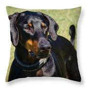 Portrait Of A Doberman Throw Pillow
