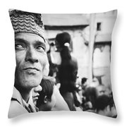 Portrait Of A Face In The Crowd Throw Pillow