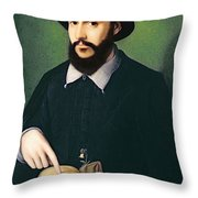 Portrait Of A Gentleman With His Right Throw Pillow