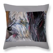Portrait Of A Happy Shaggy Dog Throw Pillow
