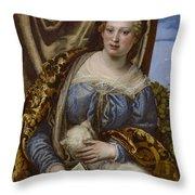 Portrait Of A Lady As Saint Agnes Throw Pillow