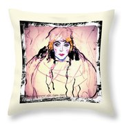 Portrait Of A Lady En Face After Gustav Klimt Throw Pillow