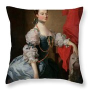 Portrait Of A Lady In A Blue Gown Throw Pillow