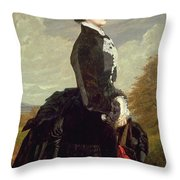 Portrait Of A Lady In Black With A Dog Throw Pillow