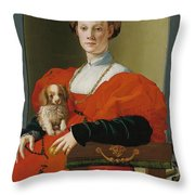 Portrait Of A Lady With A Lapdog Throw Pillow