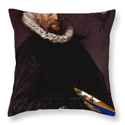 Portrait Of A Man Holding A Skull 1612 Throw Pillow
