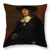 Portrait Of A Man In A Tall Hat Throw Pillow