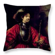 Portrait Of A Man In Military Costume Throw Pillow