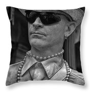 Portrait Of A Mime In Jackson Square Throw Pillow
