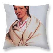 Portrait Of A-mis-quam, A Winnebago Brave Coloured Engraving Throw Pillow