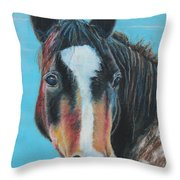 Portrait Of A Wild Horse Throw Pillow