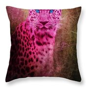 Portrait Of A Pink Leopard Throw Pillow