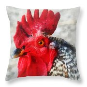 Portrait Of A Rooster Throw Pillow
