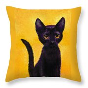 portrait of a small black cat named  LuLu Throw Pillow