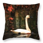 Portrait Of A Swan Throw Pillow