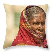 Portrait Of A Woman In Hampi Throw Pillow