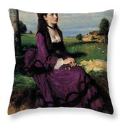 Portrait Of A Woman In Lilac Throw Pillow