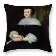 Portrait Of A Woman Oil On Canvas Throw Pillow