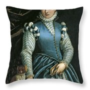 Portrait Of A Woman With A Dog Throw Pillow