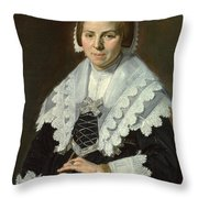 Portrait Of A Woman With A Fan Throw Pillow