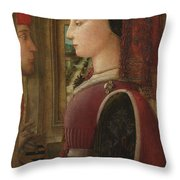 Portrait Of A Woman With A Man At A Casement Throw Pillow